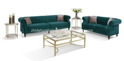 Populares moderno design clássico estilo antigo tecido Vintage Chesterfield Sofá Transversal