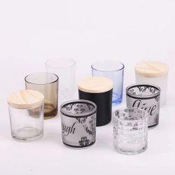 Effacer Tea Light Customerized Pot bougie en verre avec couvercle en bois