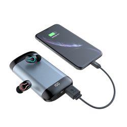 Q66 Wireless V5.0 auricular Bluetooth estéreo de alta definição auscultadores desporto à prova de fone de ouvido com microfone duplo e 6000mAh caso de carga