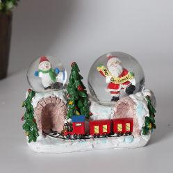 Polyresin Natale Babbo Natale Snow Globe Con Doppio Globo