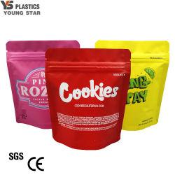 Custom levantarse el refuerzo de plástico de la parte inferior de la lámina de metal PLA el envasado de alimentos prueba de niños Ziplock maleza de Mylar Cookies Bolsa Bolsa flexible