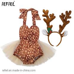 Costume de Noël bébé Baby Girls licou de Romper robe sans manches cou