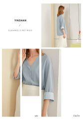 Neuer Entwurf eleganter blauer kundenspezifischer Silk V-Stutzen lange Hülsen-Form-Ausschnitt-Bluse