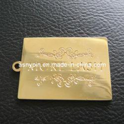 Etiqueta de metal da chapa de metal ouro gravura o logotipo personalizado