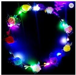 LED se encienden parte pelo diadema de Flores Corona Corona Hairband guirnaldas mujer Halloween Navidad corona brillante diadema