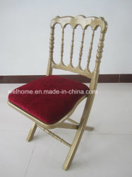 Plegable de Madera de color oro Napoleón silla con cojín duro
