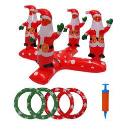 Eco-Friendly Feliz Natal o jogo Play Toys PVC inflável Natal Santa Claus Ring Toss Jogo Brinquedos