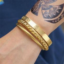 3PCS/Set men Titanium Staal Roman Numeral Armband Open Buckle Armband Mannen Manchetjes handgemaakte sieraden