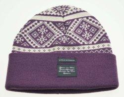 Tejidos invierno patrón Jacqurd Clacck Purpe Señoras Beanie sombreros