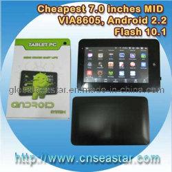 V8650 Androïde PC van 2.2 Tablet, 7 Duim van de Aanraking Weerstand biedende LCD, APP van de Steun (Androïde) Markt, OEM, 2GB (s-MID70V)