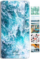 Пляж из микроволокна полотенце, Быстрый сухой легкая (60 X 31) купаться полотенца, печать кривой поездки банными полотенцами, душ на пляже одеяло песок полотенца выдаются бесплатно (большой (60 X 31)