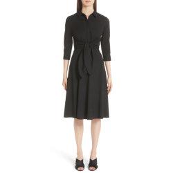 Correa de amarre de auto señoras de algodón negro vestido de camisa