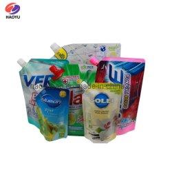 Detersivo di lavanderia su ordinazione di stampa 750ml 1000ml del sacchetto di plastica che impacca il sacchetto detersivo di imballaggio di plastica del sacchetto cosmetico del detersivo con il becco d'angolo