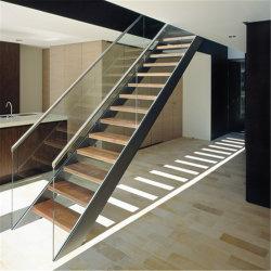 Double côté balustrade en verre trempé escalier rectiligne de la voie du bois