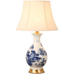 ديكور منزل أوروب مصباح طاولة بورسلين أزرق وأبيض غرفة النوم مصباح أرضية من السيراميك