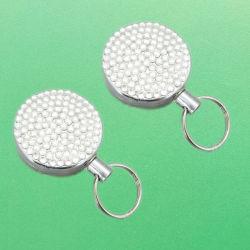 Hochleistungsmetallriemen-einziehbarer Jo-Jo Identifikation-Karten-Schlüsselring-Halter mit Diamanten