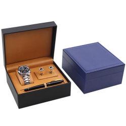 저녁식사와 선물을%s 고급 PU 가죽 손가락으로 튀김 시계, 커프스 단추 및 펜 저장 상자