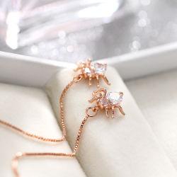 Siempre pendientes de cristal brillante para las mujeres de color plateado de Rhinestones Bridemaid nupcial Boda pendientes Bisutería