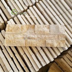Piedra caliza de color beige natural característica saliente del muro de chapa, paneles de azulejos de piedra