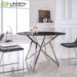 Moderne de verre rondes de base en acier inoxydable haut de page Table à manger