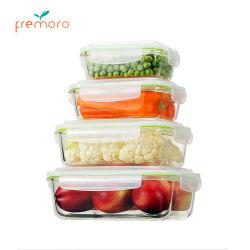 Rechteckiger Glasnahrungsmittelbehälter mit dem Sperrung der Kappen, Mittagessen-Kasten