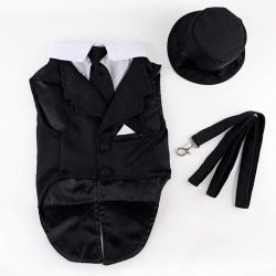 Haustier-Form-Kleidung-Hut-Leine-Gleichheit-HundTuexdo Welpen-Kleid
