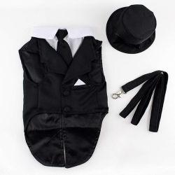 Pet roupas da moda Hat Leash Tie Dog Tuexdo Pup Vestuário