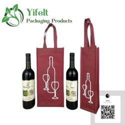 Usine réutilisable à bon marché de gros de bouteille de vin rouge non tissé sac fourre-tout sac cadeau Sacs Cache-poussière