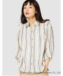 Baumwollgewebe-Striped Check-Gingham-beiläufiges Hemd der Dame-New Fashion Long Sleeved für Frauen