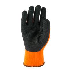 10g 주황색 폴리에스테 100% 뜨개질을 한 산업 고무 입히는 면 손 장갑