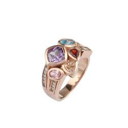 方法宝石類のローズの金張り多彩なCZ S925のステンレス製の銀製のダイヤモンドの宝石類のリング