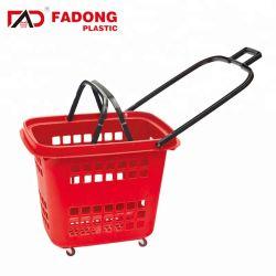 Rolling petit panier de magasinage en plastique avec des roues