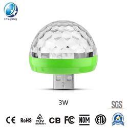 USB RGB 매직 볼 뮤직 사운드 컨트롤 미니 LED 스테이지 라이트 3W 5V 고온 판매 IP44