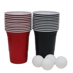 Сторона чашки 16oz двойной цвет пива в настольный теннис чашка красного цвета пластиковых одноразовых PS