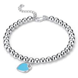 L'argent pur perle ronde perlage Peach Heart Love Bracelet en émail