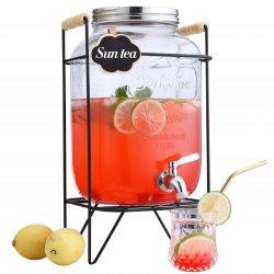 水、ジュース、ビール、ワイン、アルコール飲料のためのふたのガラス製品が付いている立場が付いているガラス飲料ディスペンサー