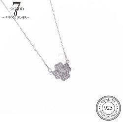 OEM Custom Fashion 925 Silber Schmuck Halskette mit vier Quadrat Blumencharm