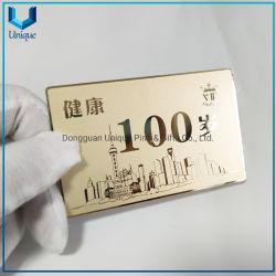 شعار التصميم المخصص لشركة OEM بطاقة معدنية منقوشة، بطاقة عمل مخصصة بأسلوب فاخر