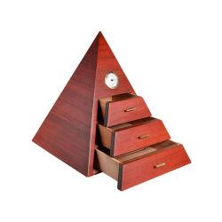 맞춤형 럭셔리 크리에이티브 피라미드 모양 MDF 나무 Cigar humidor Storage 상자