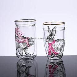 Двойные стенки несут таблички с одним ртом стеклянные чашки кружки для приготовления чая воды