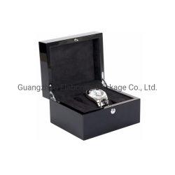 Doos van het Horloge van de Piano van de Luxe van de fabriek de Klassieke Zwarte Hoge Glanzende Gelakte Houten Enige