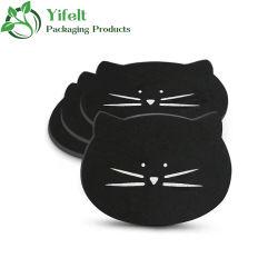 Accepteer Customization Cat Mug Coaster for Women Girls Felt Material Schattige Coffee Cup Coasters voor Cat liefhebbers