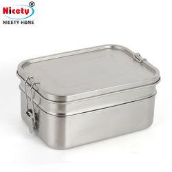 حاوية طعام قابلة للتخصيص وقابلة لإعادة الاستخدام ذات طبقتين، وجبة غداء من الفولاذ المقاوم للصدأ صندوق