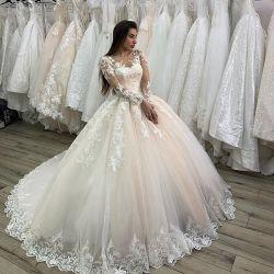 Illusion manches robes de mariée robe de bal Handmade Fleur dentelle robe de mariée bijoux LB20431
