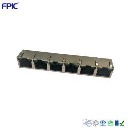 Componente del equipo PCB Conector modular RJ45 hembra conector de 6 en un adaptador Ethernet
