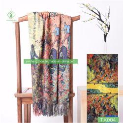 Populärer Ölgemälde-Art-Lichtschutz-Kaschmir-Schal-Form-Frauen-Schal