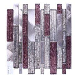 A parede interior Rosa decorativa cinzento Vermelho cintilante de vidro laminado o alumínio Mosaicos