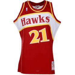 In het groot Mitchell& Ness Dominique Wilkins Hawks Hardwood Classics Authentiek Throwback Aangepast #21 Jersey
