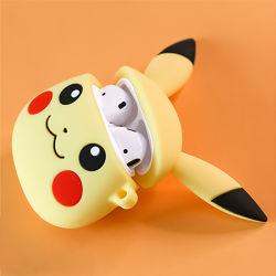 Luxe 3D de dessin animé mignon Pikachu Étui pour iPod avec crochet de la main en silicone pour écouteurs sans fil cas Airpods 1/2