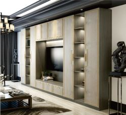 Foshan estilo moderno mobiliário de sala de porta UV armário de TV